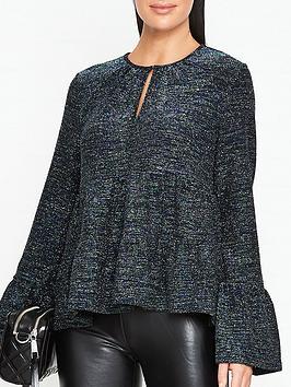 sofie-schnoor-celine-metallic-keyhole-blouse-green