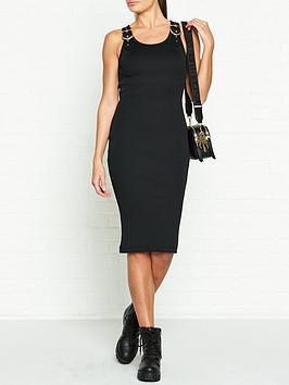 versace-jeans-couture-buckle-detail-midi-dress-black