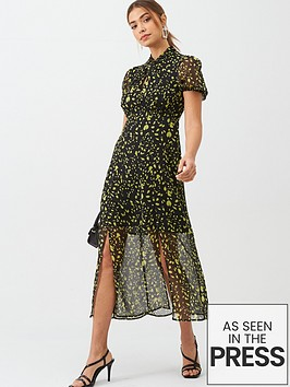 v-by-very-georgette-twist-neck-midi-dress-spot