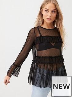 v-by-very-mesh-frill-long-sleeve-top-black