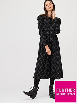v-by-very-checked-frill-sleeve-midi-dress-check
