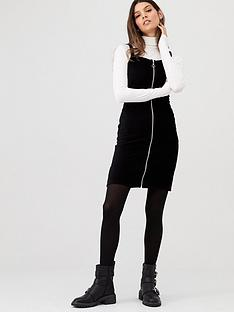 v-by-very-zip-through-stretch-cord-pinafore-black
