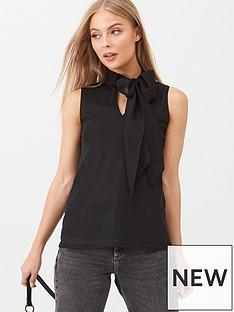 v-by-very-organza-tie-neck-top-black