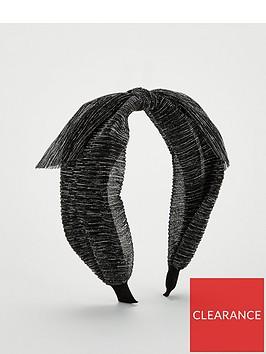 michelle-keegan-mk-metallic-plisse-knot-hairband-black