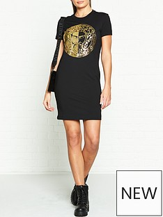 versace-jeans-couture-logo-foil-t-shirt-dress-black