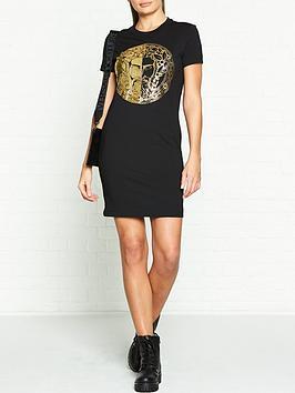 versace-jeans-couture-logo-foil-t-shirt-dress-black