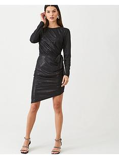 v-by-very-metallic-ruched-front-dress-black