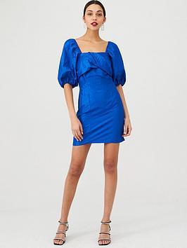 v-by-very-metallic-twist-front-dress-blue