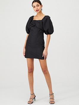 v-by-very-metallic-twist-front-dress-black
