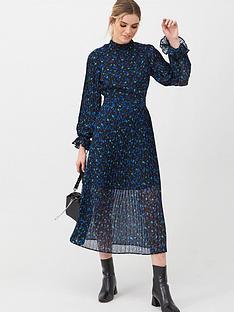 v-by-very-high-neck-pleated-skirt-dress-print
