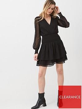 v-by-very-georgette-shirred-ruffle-dress-black