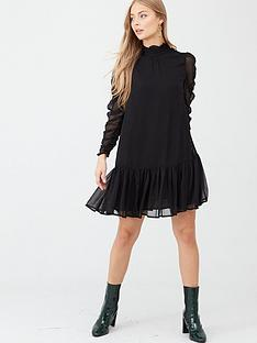 v-by-very-georgette-ruched-sleeve-tunic-dress-black