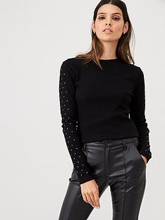 v-by-very-diamond-sleeve-ribbed-top-black