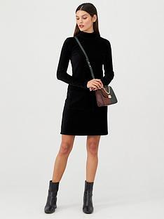 v-by-very-jersey-cord-high-neck-mini-dress-black