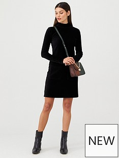 v-by-very-jersey-cord-high-neck-mini-dress-black