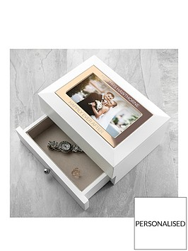 personalised-white-and-rose-gold-photo-jewellery-chest-with-drawer