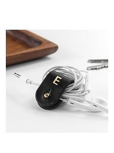 monogrammed-leather-earphones-holder-personalised