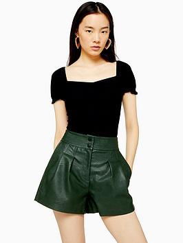 topshop-ruched-front-t-shirt-black
