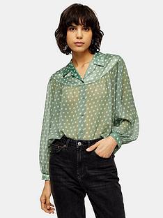topshop-sheer-and-satin-spot-shirt-green