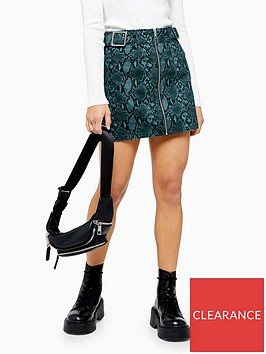 topshop-petite-snake-skirt-teal