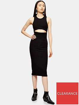 topshop-cut-out-ribbed-midi-dress-black