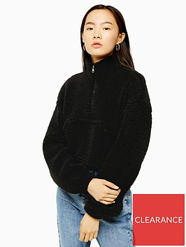 topshop-kangaroo-pocket-borg-half-zip-sweat-top-black