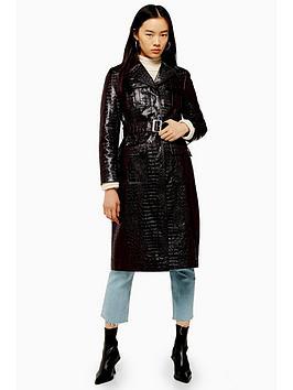 topshop-vinyl-croc-belted-trench-coat-oxblood