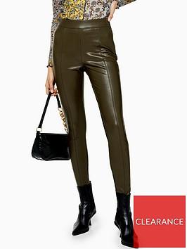 topshop-pu-skinny-trousers-khaki
