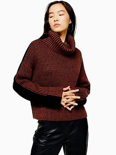 topshop-two-tone-roll-neck-knitted-jumper-brick