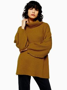topshop-mixed-wool-roll-neck-jumper-tobacco