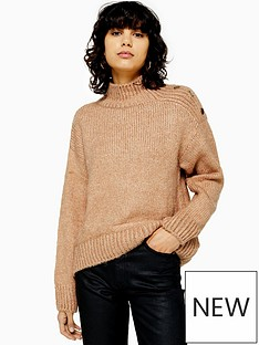 topshop-button-shoulder-detail-knitted-jumper-camel
