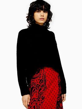 topshop-button-shoulder-detail-knitted-jumper-black