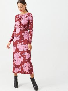 v-by-very-floral-gathered-waist-midi-dress-pink
