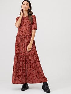 v-by-very-smock-tiered-animal-maxi-dress-rust