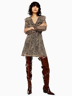 topshop-tall-heart-animal-print-ruffle-mini-dress-tan