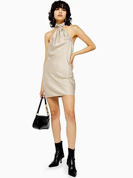 topshop-satin-halterneck-mini-dress-taupe
