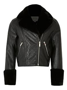 river-island-girls-faux-fur-cuff-biker-jacket-black