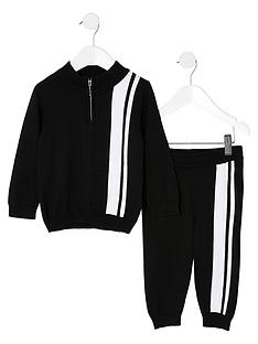 river-island-mini-mini-boys-stipe-knitted-tracksuit-black