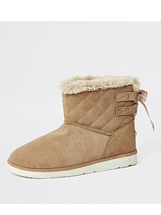 river-island-river-island-suede-quilted-faux-fur-lined-boot-tan
