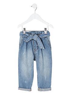 river-island-mini-mini-girls-paperbag-waist-jeans-blue