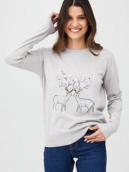 oasis-reindeer-christmas-jumper-pale-grey