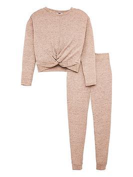 v-by-very-girls-twist-front-glitter-lurex-snit-set-pink
