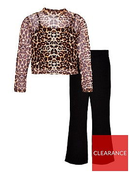 v-by-very-girls-2-piece-animal-mesh-top-and-kickflare-trousers-set-multi