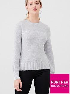 oasis-bella-blouson-sleeve-sequin-jumper-pale-grey