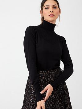 oasis-vivienne-detailed-yoke-jumper-black