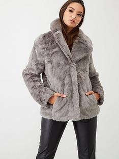oasis-velvet-short-faux-fur-coat-grey