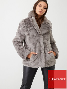 oasis-velvet-short-faux-fur-coat-grey