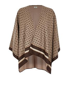 river-island-river-island-monogram-knitted-cape-brown