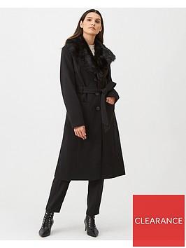 oasis-faux-fur-collar-glam-wrap-coat-black