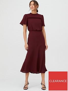 oasis-pintuck-bias-cut-short-sleeve-midi-dress--nbsp-burgundy